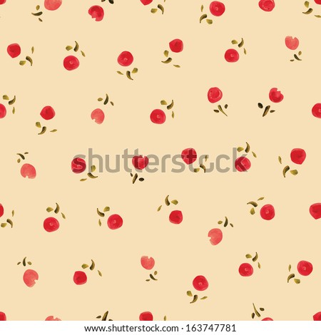 Small roses- watercolor. Seamless pattern - stock vector