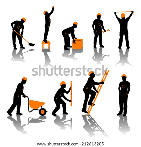 small set of different types of builders. all silhouettes in black and orange color - stock vector