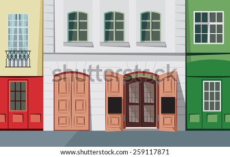 Small street in the historic town - vector illustration