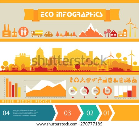 Small town and village infographics with step banners - stock vector