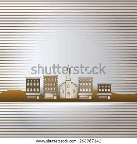 Small town background with space for text - stock vector