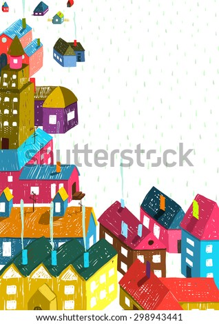 Small Town or City with Houses Roofs Landscape. Colorful hand drawn sketchy pencil drawing feel illustration. Small urban scene composition isolated. - stock vector
