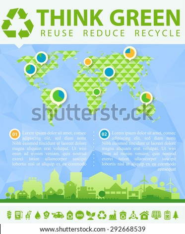 "Small town or village ecological illustration ""Think green!"" with infographics world map - stock vector"