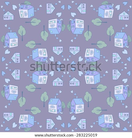 Small town seamless pattern - stock vector