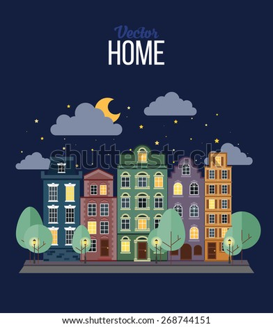 Small Town. The Night. - stock vector