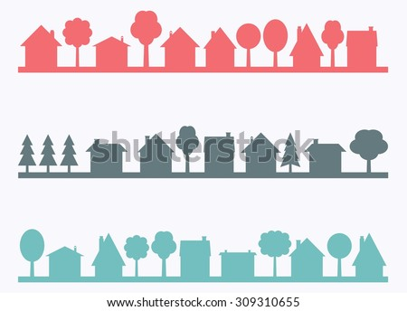 Small town vector silhouettes with blank copy space. Village illustration. - stock vector
