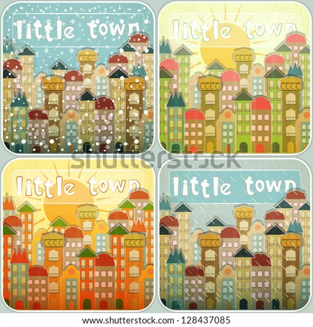 Small Town Vintage Retro Seasons Set. Hand Lettering - Little Town. Vector Illustration. - stock vector