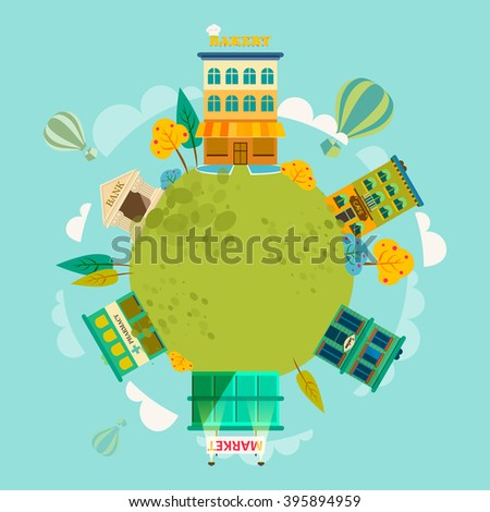 Small town with small and medium business. Bank building, bakery, salon, market, coffee shops and pharmacies. Vector. For brochures, backgrounds, printed products. - stock vector