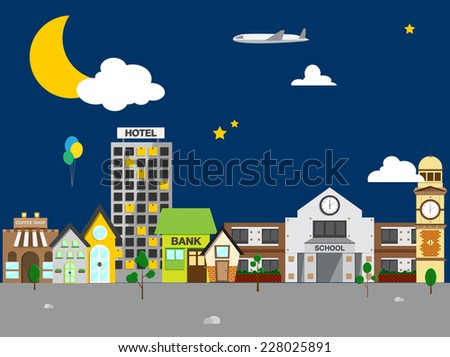 Small town with small and medium business. Bank building, coffee shop. at night - stock vector