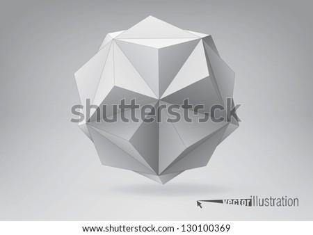 Small triambic icosahedron for your graphic design. You can change colors - stock vector