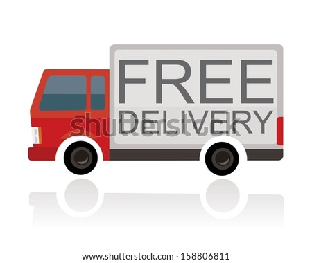 small truck with free delivery text on trailer