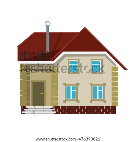 Small village house on a white background. The flat style. Color vector image for real estate brokerage site, advertising booklet.