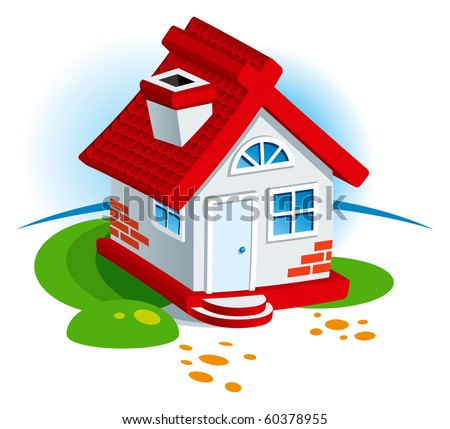 Small Village House with Grass Lawn. Vector Illustration