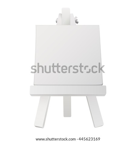 small white easel with empty canvas
