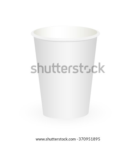 Small white paper cup isolated on white background - stock vector