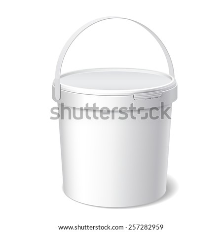Small White plastic bucket with White lid. Product Packaging For food, foodstuff or paints, adhesives, sealants, primers, putty. Vector illustration - stock vector