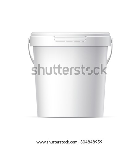 Small White plastic bucket with White lid. Product Packaging For food, foodstuff or paints, adhesives, sealants, primers, putty. Vector illustration