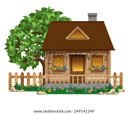Small wooden boardwalk house with fruit tree and fence - stock vector