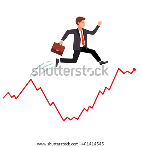 Smart and agile businessman jumping over falling market crisis. Hopping over falling stock graph curve. Flat style vector illustration. - stock vector