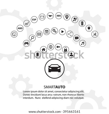 Smart auto car concept with automotive icons. Internet of things road transport. Car Wifi icon. Electric vehicle technology. Car icon. Modern vector illustration. - stock vector