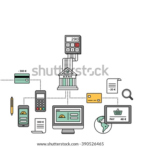 Smart banking, online payments, transactions, internet banking & mobile payment vector illustration. - stock vector