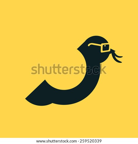 Smart Bird with glasses and worm in beak. Vector illustration flat style - stock vector