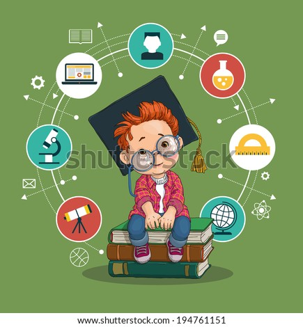 Smart boy with glasses and academic hat sitting on a pile of books icons of education. - stock vector