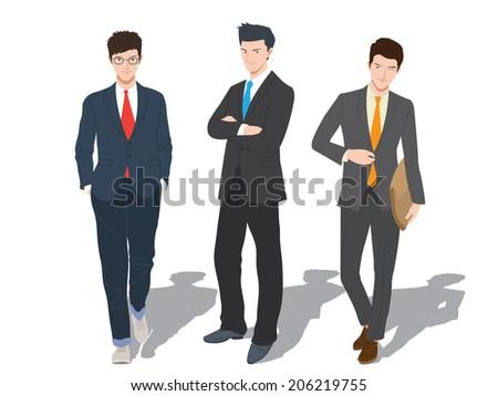 Smart Business three man - stock vector