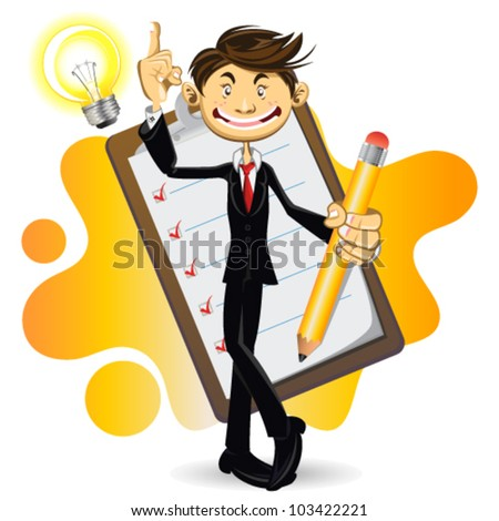 Smart Businessman Done With His Checklist - stock vector