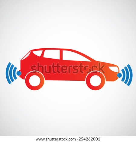 Smart car icon with wireless sensor . Side view - stock vector