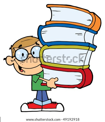 Smart Caucasian School Boy Carrying A Stack Of Books - stock vector