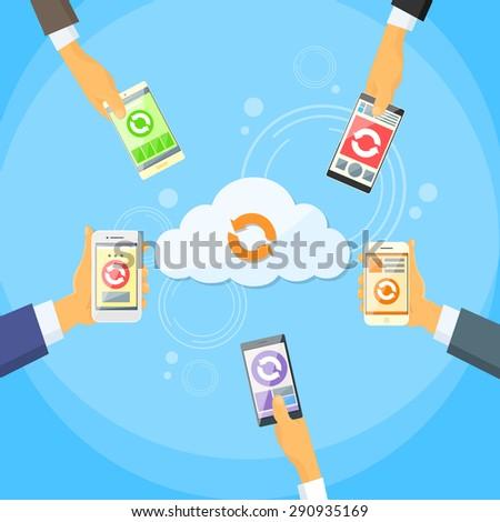 Smart Cell Phone Cloud Data Share Online Internet Storage Synchronize Flat Vector Illustration - stock vector