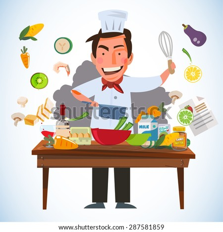 smart chef character cooking behind kitchen table with various of ingredients. kitchen and chef concept - vector illustration - stock vector