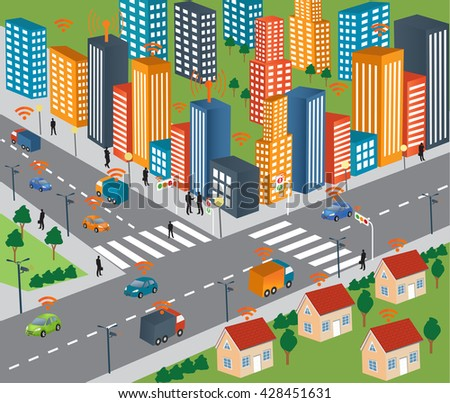 Smart city concept and Wireless network of vehicle Modern city design with  future technology for living. Traffic and wireless network, Intelligent Transport Systems. Internet of things/Smart city - stock vector