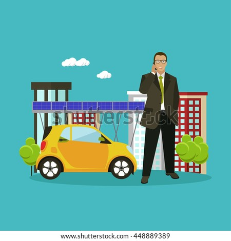 Smart city concept vector illustration in flat style. Businessman talks by smart phone. - stock vector