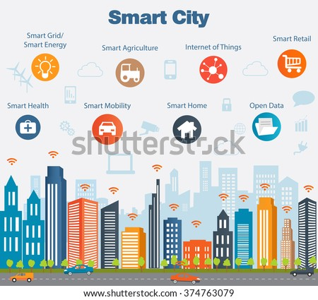 Smart city concept with different icon and elements. Modern city design with  future technology for living. Illustration of innovations and Internet of things.Internet of things/Smart city - stock vector