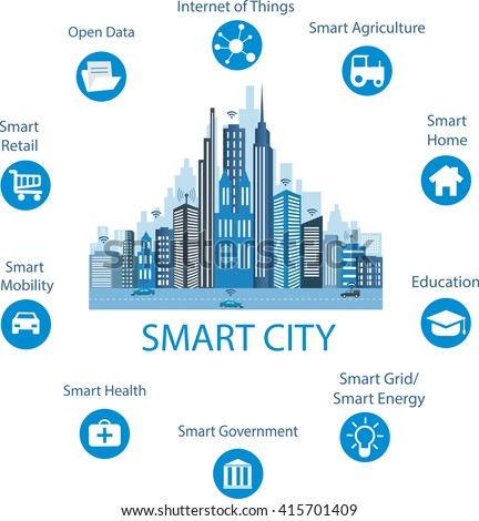 Vector city icons different houses house and building for Smart city design hotel