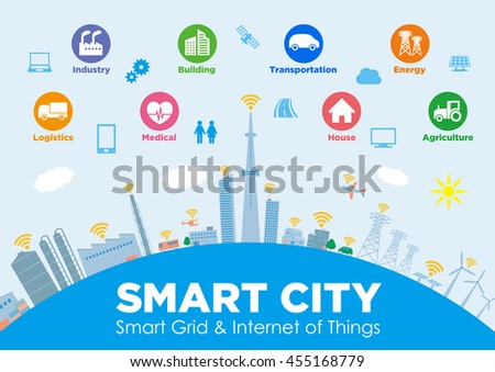 portfolio van chombosan op shutterstock smart city on global ground various technological icons futuristic cityscape and modern lifestyle
