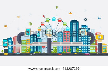 Smart City with business signs. Modern design city of the future - stock vector