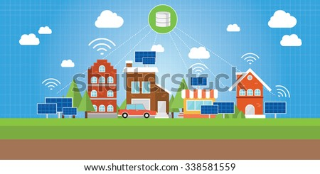 smart city with connected concept between object in city - stock vector