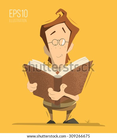 Smart clever genius kid child boy schoolboy schoolchild pupil holding and reading a book. Color vector isolated illustration. - stock vector
