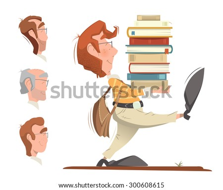 Smart clever student holding and carrying a heap pile stack of books and going forward. Color illustration. - stock vector