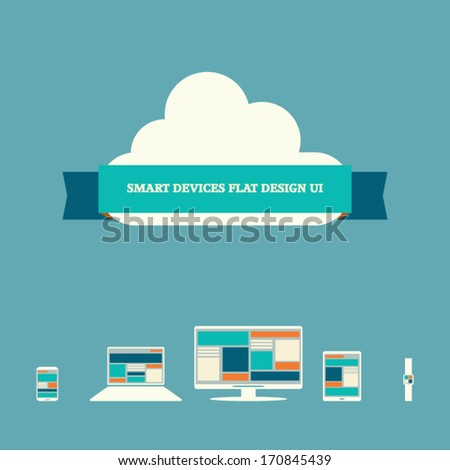 Smart devices user interface concept in trendy flat design suitable for presentations, infographics, etc. Eps10 vector illustration. - stock vector