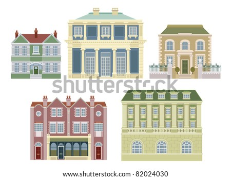 Smart expensive luxury old fashioned houses and other buildings. - stock vector