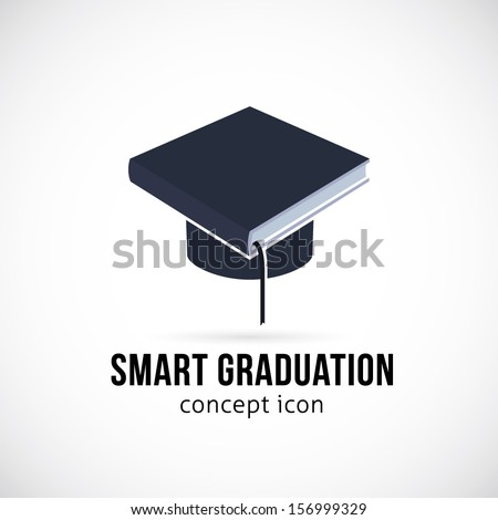 Smart Graduation Abstract Vector Concept Icon, Label or Logo Template. Graduate Cap and Book as a Symbol of Education, Knowledge and Science Creative Idea. Good as Logotype for Education, Courses etc  - stock vector