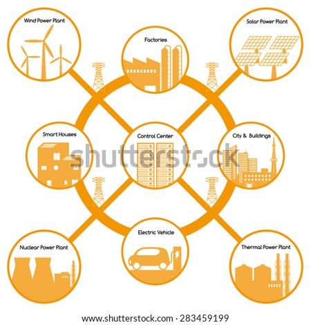 smart grid diagram - stock vector