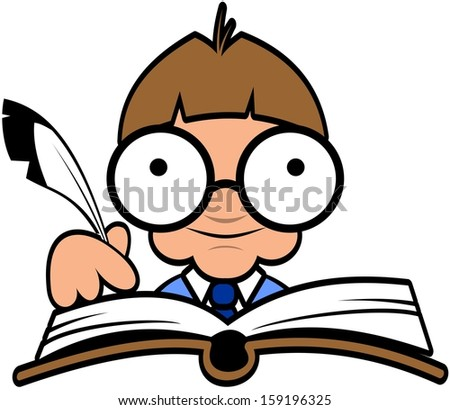 Smart guy writing in a big book - stock vector