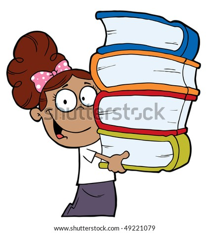 Smart Hispanic School Girl Carrying A Stack Of Books - stock vector
