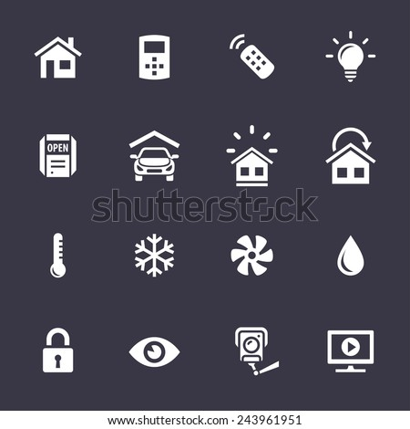 Smart Home and Smart House Icons. Home automation control systems. Simplus series vector icons - stock vector