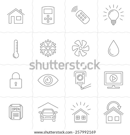 Smart Home and Smart House line icons. Home automation control systems. Simple outlined icons. Linear style - stock vector